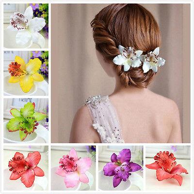 Bridal Wedding Orchid Flower Hair Clip Barrette Brooch Women Girls Accessories