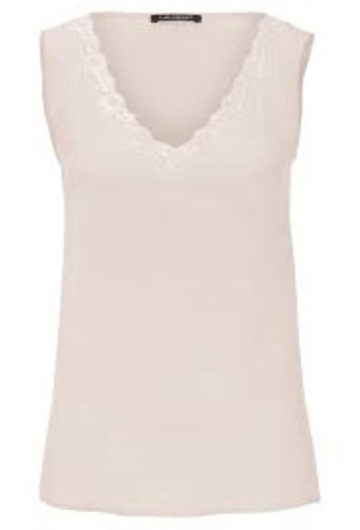 Luisa Cerano Silk Lace Trim Vest Beige Größe 42 Ladies RRP  Box45 73 S