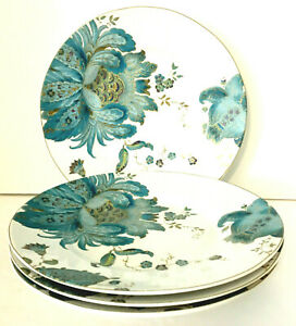 222-FIFTH-Eliza-Teal-Blue-Salad-Plates-Set-Of-4-8-75-034-White-w-Teal-amp-Gold-EUC