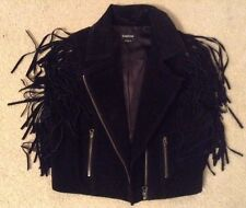 EUC! Very Cool! Womens BeBe Black Suede Fringe Tank Vest Sz S/P