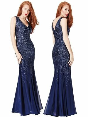 Goddiva Navy Sequin Long Chiffon Sleeve Evening Maxi Dress Prom Party Ball Gown