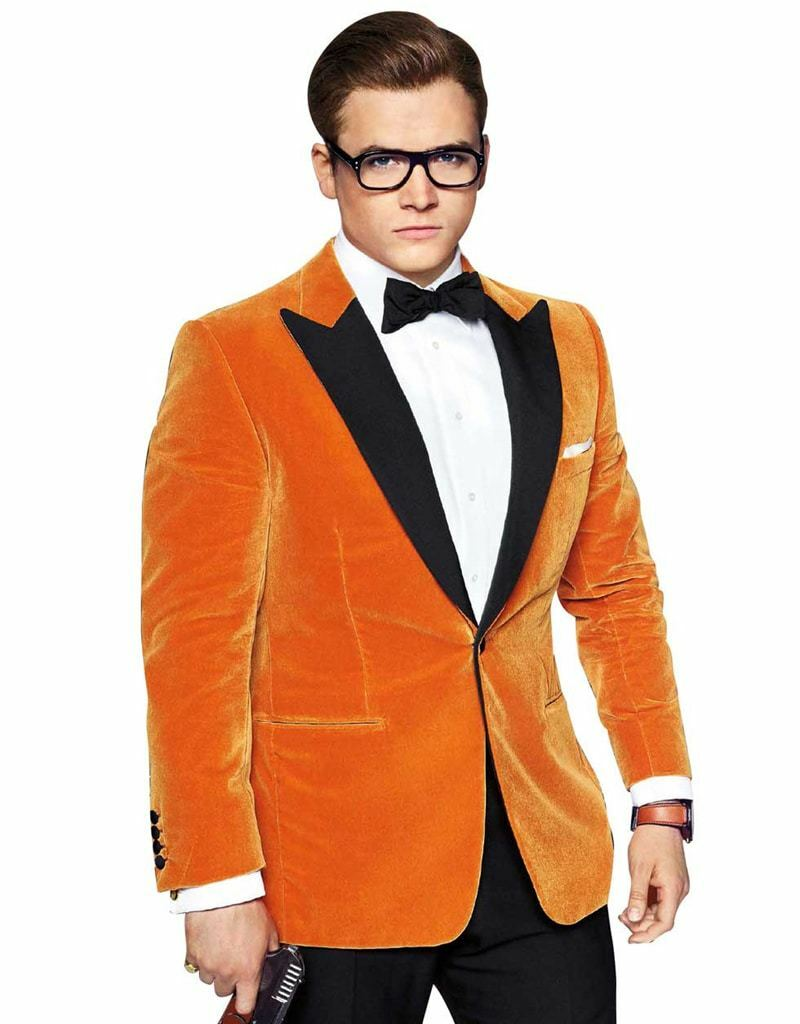 Kingsman Orange Tuxedo Taron Egerton Blazer SlimFit Outfit For Prom Parties