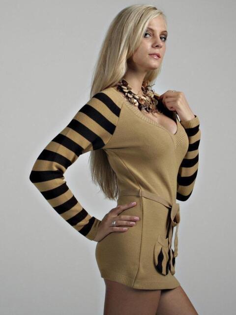 New Sexy Ladies Womens Tunic Sweater Jumper Mini Dress Knitted Top M/L UK 10/12