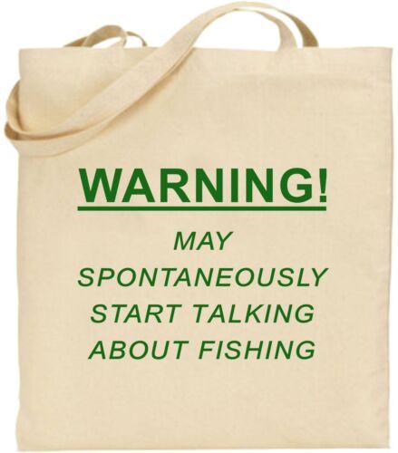 Warning Spontaneously Talk Fishing Large Tote Bag Bait Tackle Xmas Birthday Gift