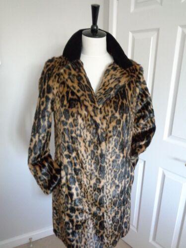 Leopard Velvet Bnwt Faux Coat 10 Black Jacket Biba Taglia Fur Winter Ran5npqS
