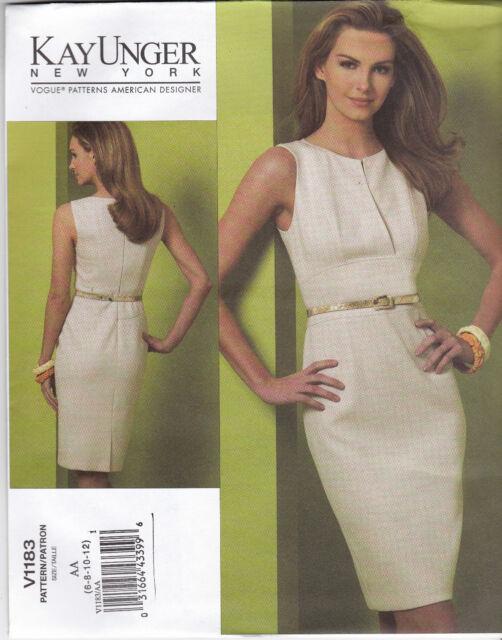 Vogue Kay Unger Misses Sewing Pattern 1183 Dress 6 / 8 / 10 / 12 | eBay