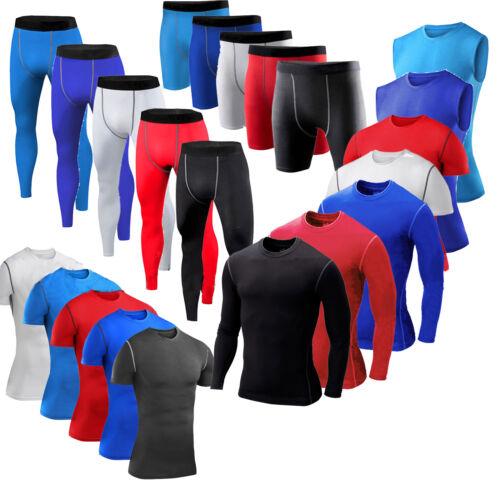 Men Compression Vest Top Gym Fitness Base layer Athletic Workout Leggings//Shorts