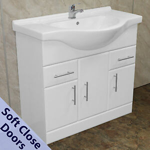 Image Is Loading 850mm Bathroom Vanity Cabinet Cupboard Unit Ceramic Basin