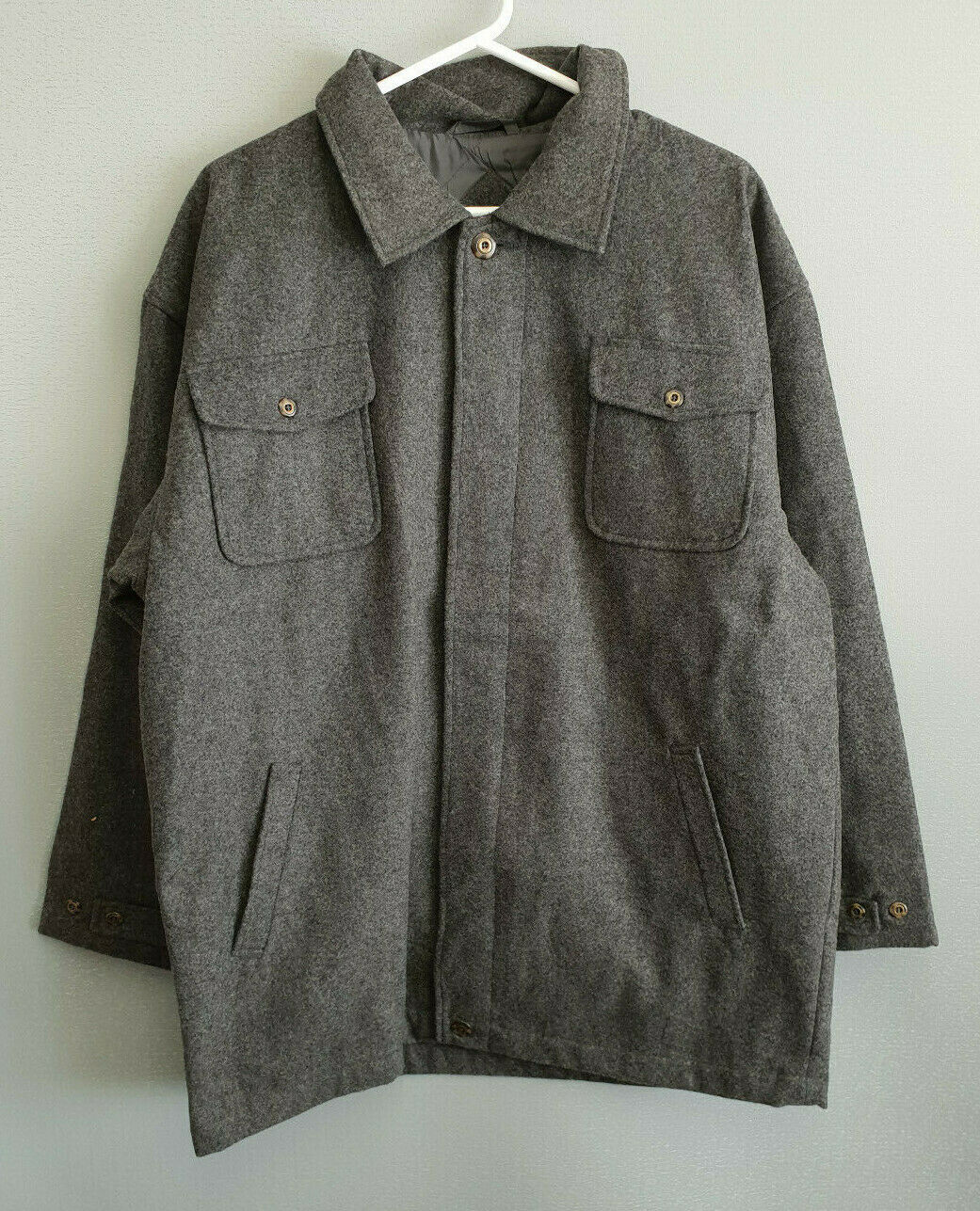 BNWT Mens Sz XXL Grey Trenders Brand Woolen Heavy Weight Button Coat