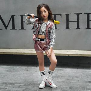 49fb84349 Girls Children Modern Jazz Hip-Hop Dancewear Kids Dance Sequins ...