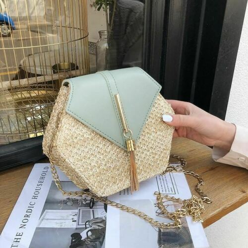NT Hexagon Mulit Style Straw+leather Handbag Women Summer Rattan Bag Handmade