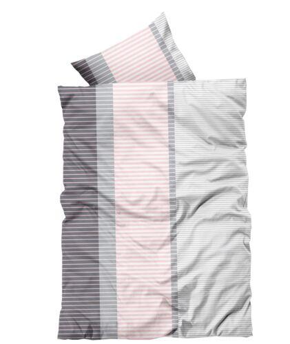 4 tlg Bettwäsche 135x200cm rosa grau gestreift Microfaser 2 Garnituren