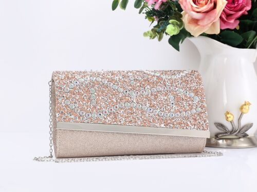 Ladies Women/'s Glitter Stylish Magnetic Evening Clutch Purse Pouch Bag Handbag