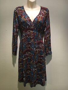 Oasis-Brown-Teal-Stretch-Long-Sleeve-V-Neck-A-line-Dress-Size-UK-16-Fit-AU-14-16