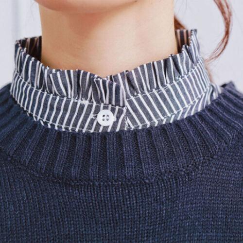 Women Patchwork Striped Half Fake Collar Shirt Ruffle Detachable False Collar