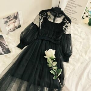 Women-Lace-Hollow-Out-Puff-Sleeve-Floral-Dress-Vintage-Mesh-Elegant-Fairy-Lolita