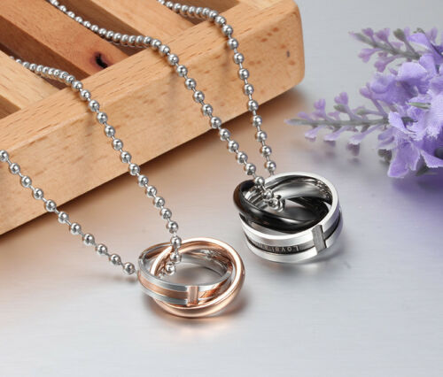 His /& Hers Lover Promise Matching Stainless Steel Couple Necklace UK Seller #19