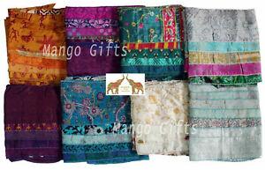 Indian-Silk-Sari-Scarves-Headwraps-Scarf-Stole-Neckwraps-Girls-Fashion-Lot-6-Pcs