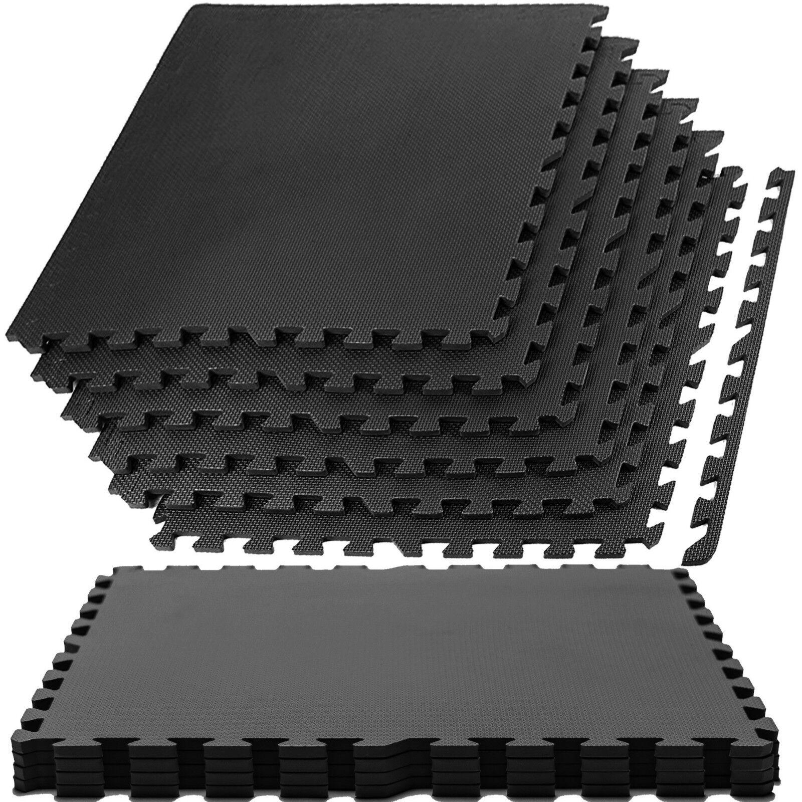 Large black interlocking eva foam floor mats tiles gym play garage