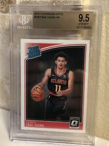 TRAE-YOUNG-2018-19-PANINI-DONRUSS-OPTIC-RATED-ROOKIE-RC-198-GEM-MINT-BGS-9-5