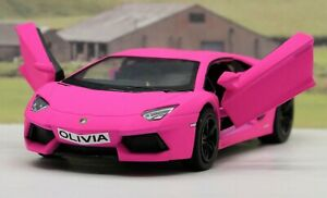 PERSONALISED-PLATE-Pink-Lamborghini-Boys-Girls-Toy-Model-Car-Birthday-Present