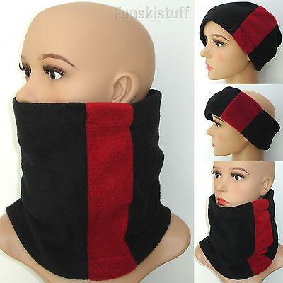 RED SNOOD Mens Ladies fleece neck warmer scarf hat skiing school youth teenager
