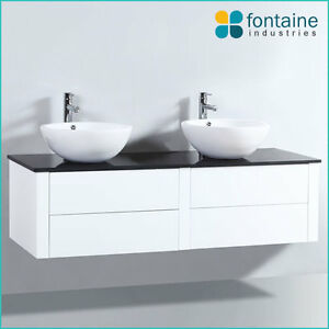Image Is Loading Bathroom Vanity 1500 White Wall Mounted Hung Ceramic