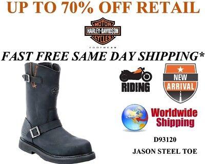 Harley-Davidson ® Men/'s Steel Toe Jason Sécurité Noir Bottes en cuir D93120