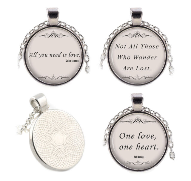 Silver Quote Necklaces Pendants - Movie Music Song Lyrics Religion Poetry Gifts