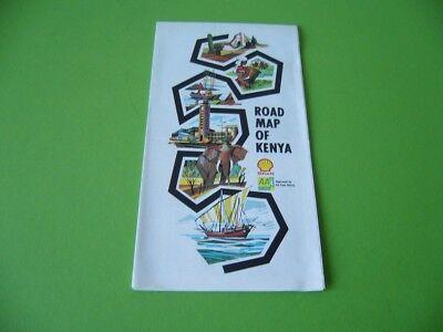 Alte Kenia Landkarte Strassenkarte 1976 Shell Road Map Of Kenya, Vintage 1970s
