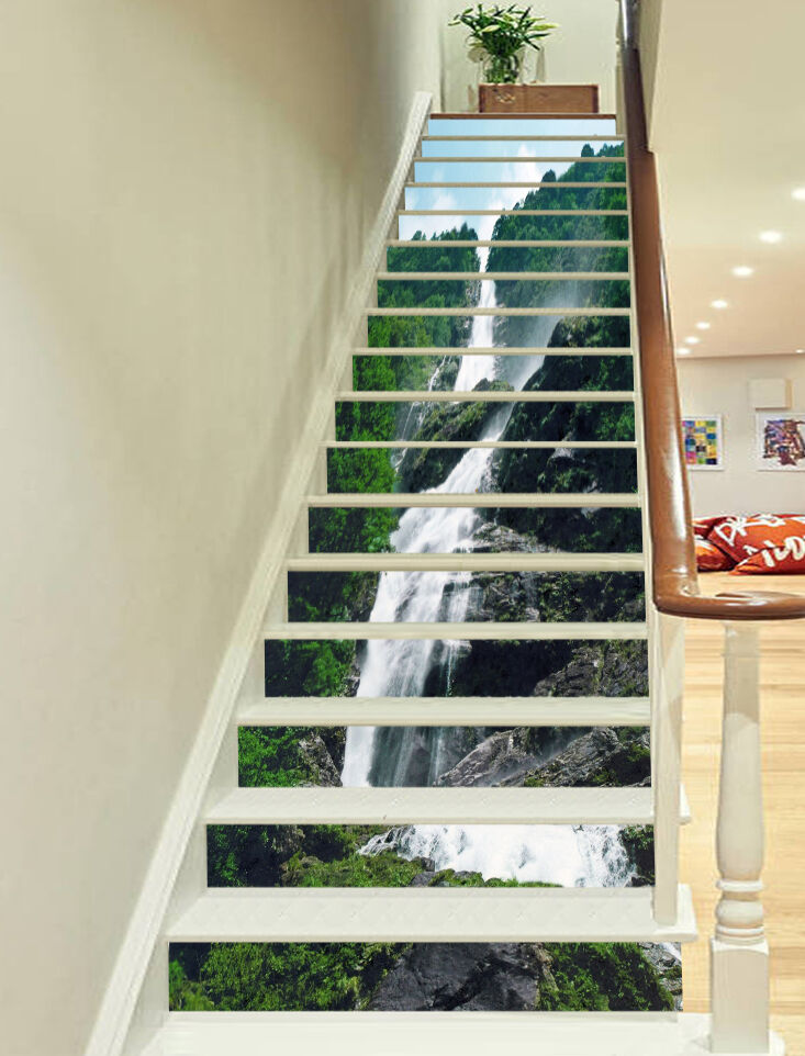 3D verdeical Stream Stair Risers Decoration Photo Mural Vinyl Decal Wallpaper AU