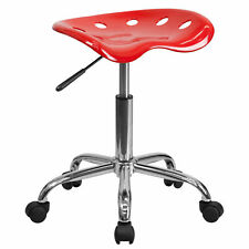 Flash Furniture Vibrant Red Tractor Seat And Chrome Stool Lf 214a Red Gg