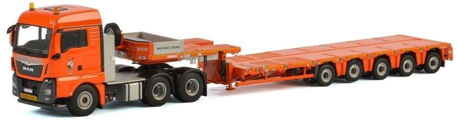 WSI01-2466 - Camion 6x4 MAN TGW XLX et remorque porte engins 5 essieux Nooteboom