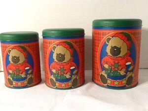 Vintage-Set-Of-3-Bear-Motif-Kaufmann-039-s-Dept-Store-Holiday-Tins-Unused-w-Tag