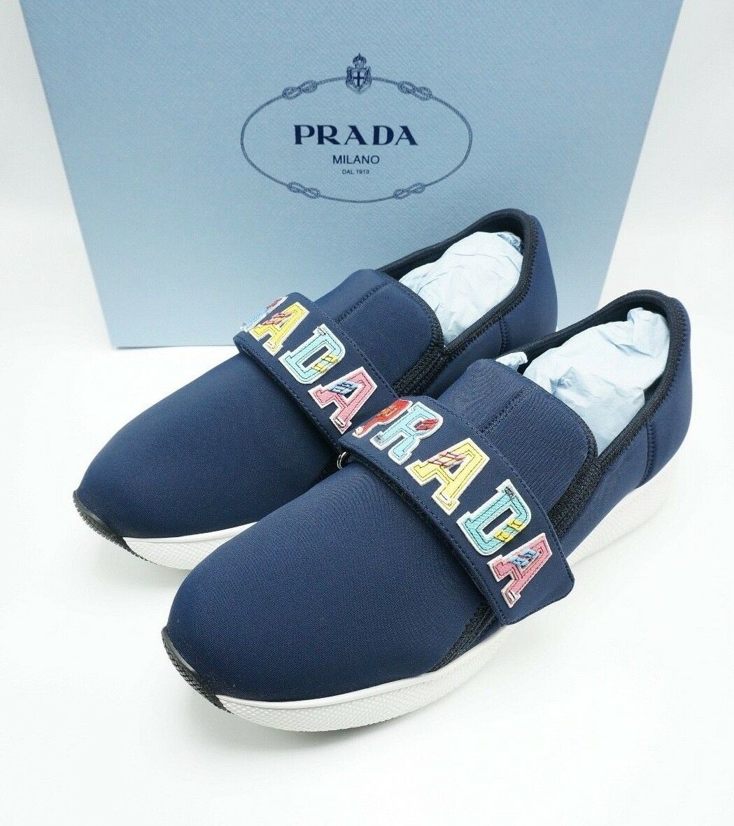 Prada AUTH  750 Neoprene & Saffiano Leather Logo Sneakers Navy bluee Multi 39.5