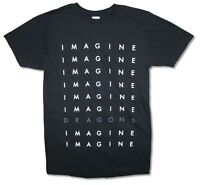 Imagine Dragons Repeat Logo Tour Mens Black T Shirt New Official Adult