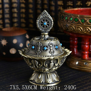 Tibet-Tibetan-Buddhist-Mikky-Eight-Auspicious-Symbols-Dharmacakra-Incense-Holder