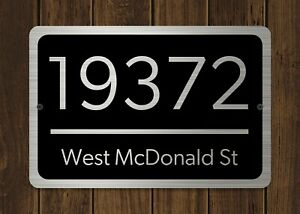 Customized-Home-Address-Plaque-Silver-Text-Metal-12-034-x-8-034-House-Number-Sign