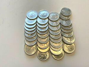 1967 Canada Silver Quarters $10 Face Value One Roll - Circulated Centennial