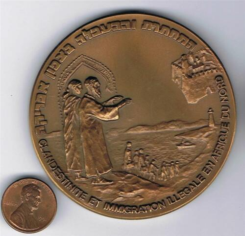 ISRAEL 1993 EGOZ SHIP NORTH AFRICA IMMIGRATION MEDAL 70mm 140g BRONZE