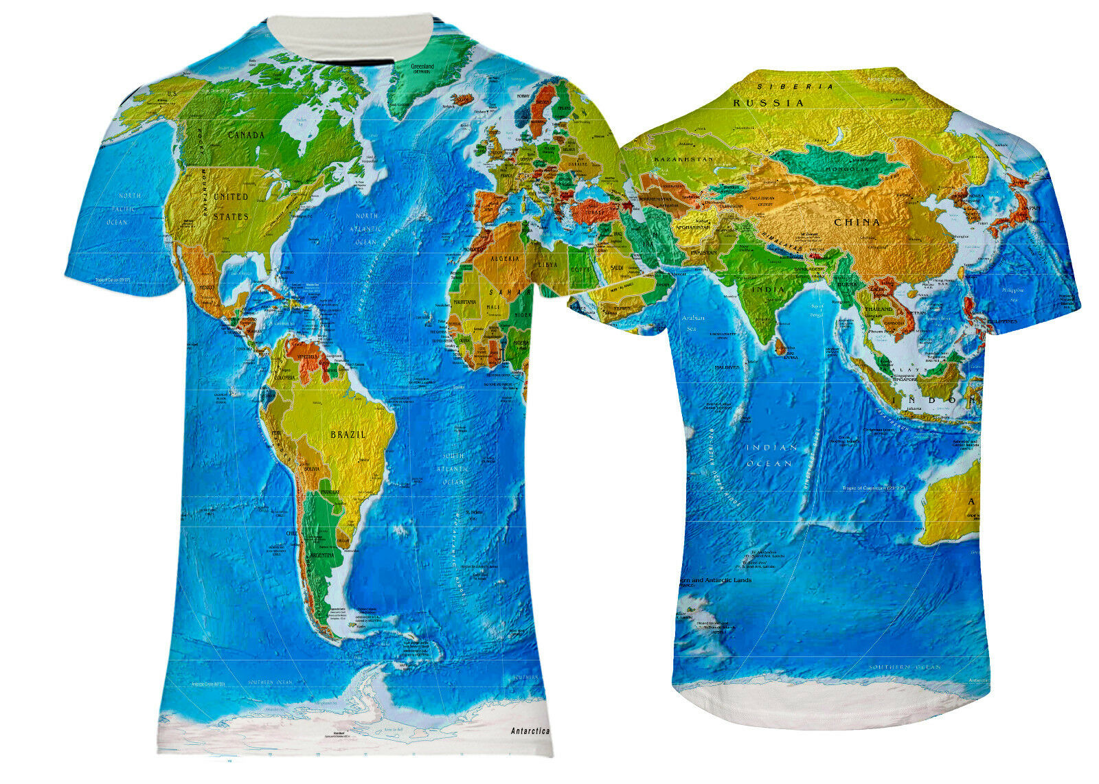 NEW AMERICA , ASIA , EUROPE WORLD MAP GLOBUS OVER PRINTED PRINTED T-SHIRT