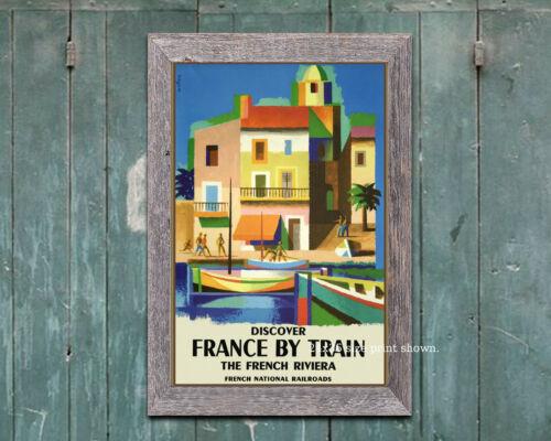 6 sizes, matte+glossy avail Discover France by Train Vintage Travel Poster