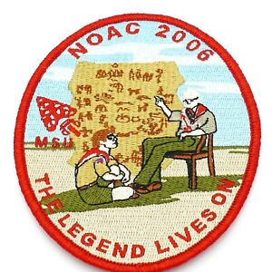 2006-NOAC-MSU-OA-Boy-Scout-Patch-BSA-WWW-The-Legend-Lives-On-Red-Border
