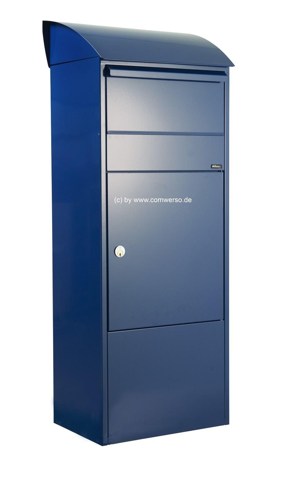 Allux 820 Paketbriefkasten in blau, Entnahme  vorne, mit Montagefuß in schwarz