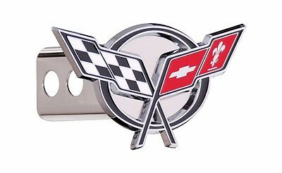 """Black Fill Chevrolet Chrome 2/"""" Hitch Plug Cover Cap Stainless Steel"""
