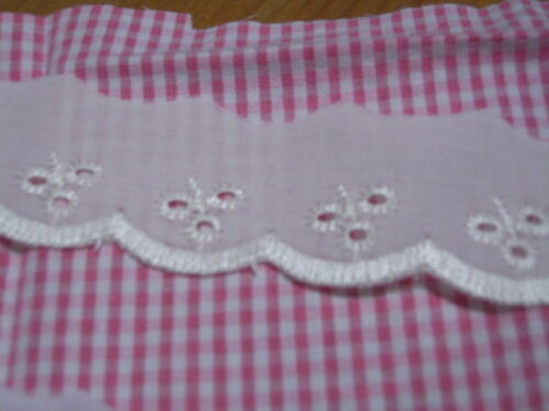 Available in 3 colours /& Various lengths Broderie Anglaise Lace 30mm wide