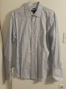 Pronto-uomo-Mens-Size-17-36-37-TALL-White-Blue-Striped-Button-Down-Dress-Shirt