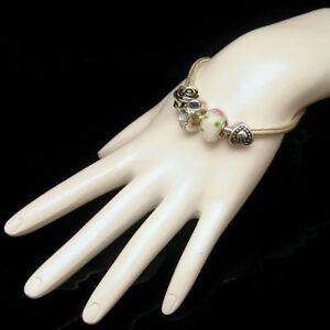 Rhinestone-Slide-Charms-Bracelet-Heart-Rose-Love-Grandma-Vintage-Thick-Chain