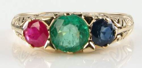 DIVINE 9CT 9K gold RUBY EMERALD SAPPHIRE ART DECO INS TRILOGY RING FREE SIZE raj