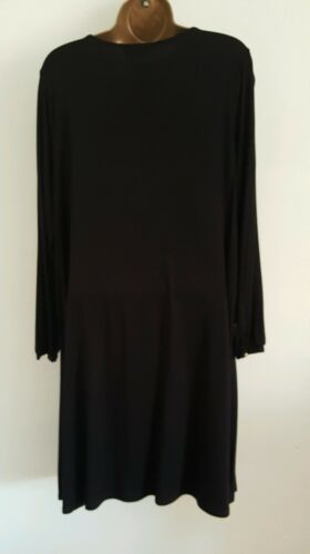 NEW Size 16 Black Lace Up Long Sleeve Tunic Dress Top Tie Neck